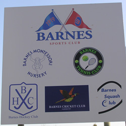 Barnes Squash Club Sign